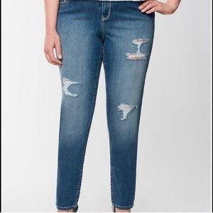 Lane Bryant Distress Skinny Genius Fit Jeans  14 R